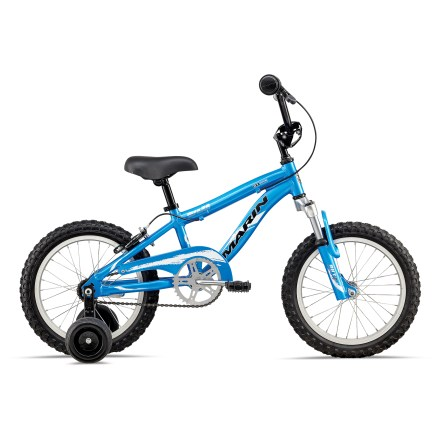 BMX With a touch of BMX style, the Marin MBX 50 16 in. kids' bike is great for young riders honing their skills, and features a suspension fork and adjustable training wheels. 6061 aluminum frame features hydroformed top and down tubes for excellent strength without added weight; young riders can wheel the bike around and put it away easily. Suspension front fork-just like on bigger bikes-features 40mm of travel to soften minor bumps that get in the way. Single-speed bike features a coaster (foot) brake and rear hand brake, so a young rider is never without a way to stop. Features a BMX-style handlebar. Chainguard helps prevent clothing and shoelaces from getting caught in the drivetrain. Adjustable training wheels speed the learning process. - $249.00