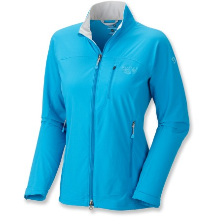 This ultra-stretchy soft shell never holds you back. Every inch of the lightweight Mountain Hardwear Onata jacket is designed to move with you, and the fabric is both water- and abrasion-resistant. Breathable stretch fabric offers high abrasion resistance; Durable Water Repellent finish sheds moisture for quick drying. Front zipper with softly lined chin guard. Curved drop hem for back coverage. Mountain Hardwear Onata jacket features a zip chest pocket and zip handwarmer pockets. - $54.83