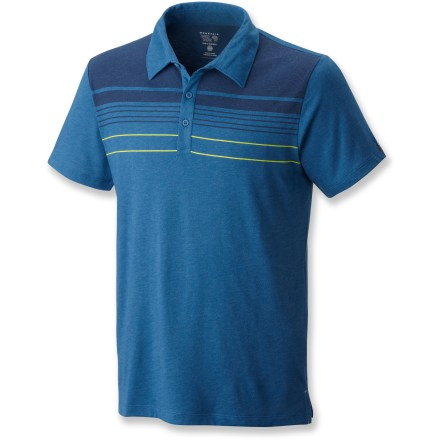 Camp and Hike The Mountain Hardwear Frequentor Stripe polo shirt turns a long day of travel into a comfortable adventure. Polyester/wool blend has a soft feel for great comfort; polyester wicks moisture off your skin to keep you cool. drirelease(R) fabric with FreshGuard(R) helps keep odors at bay; FreshGuard is built directly into the fabric and won't wash out. - $44.93