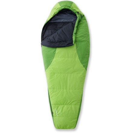 Camp and Hike The Mountain Hardwear women's Laminina 35 Sleeping Bag uses welded seam construction (not sewing) that doesn't pinch the insulation, maximizing loft, durability and warmth in freezing conditions. - $149.93
