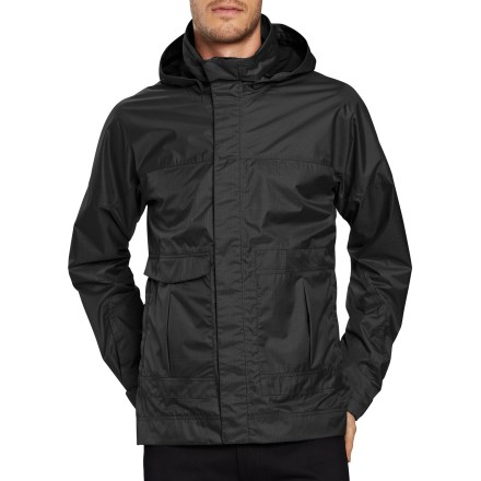 Navigate your way across town in the comfortable and stylish Nau Deft jacket. 2.5-layer laminate fabric adds waterproof, windproof and breathable qualities to this stylish jacket; jacket is seam sealed for complete waterproof protection. Recycled-polyester exterior fabric is treated with a Durable Water Repellent finish to repel moisture and stains. Flip up the hood and cinch it snug with the drawcord to keep cold air out; hood attaches with snaps so you can remove it when you don't need it. 2 hand pockets and 1 zippered pocket stow your essentials; keep valuables in the internal zippered pocket and drop-in pocket. Windflap covers the front zipper and restricts cold-air entry. Rip-and-stick tabs help you adjust the cuffs. The Nau Deft jacket has a regular fit. - $55.83