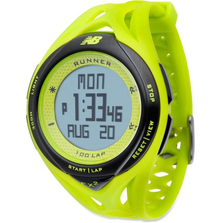 Camp and Hike The women's New Balance Ndurance 100 watch offers high-performance yet intuitive functions and great style. It's ideal for new runners and dedicated athletes alike. 24 hr. chronograph features 1/100 second resolution, 3-line multi-view, 100 laps/splits, 10-run memory and data recall for run number, date, lap number/time and exercise time. Exercise timer offers a countdown-stop timer and a range of 24 hrs. Watch functions include 12/24 hr. time, time/day/date, dual time zones, daily alarm and hourly chime. Stainless-steel bezel and 50m (165 ft.) water resistance add durability. The New Balance Ndurance 100 watch features a convenient EL backlight for easy reading in the dark. - $34.93