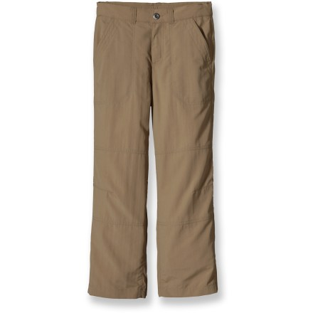If the day's agenda includes rope swings and creek fording with a good chance of dirt clods, the Patagonia Summit Pants are ready. Easy-care, cottony-soft Supplex nylon dries fast and resists fading. Fabric provides UPF 50+ sun protection, shielding skin from harmful ultraviolet rays. Durable Water Repellent finish causes water to bead up and roll off. Summit shorts have an internal elasticized waist, deep hand pockets and 2 rear pockets. Articulated knees aid in fit, allowing freedom of movement. - $33.93