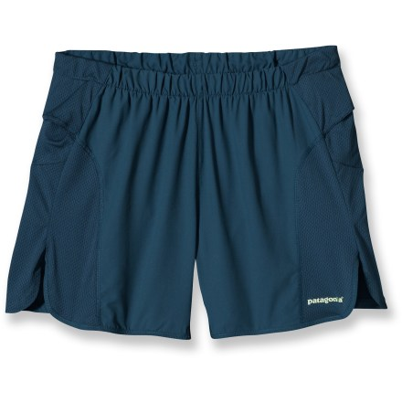 Fitness Rely on the very comfortable Strider PRO shorts from Patagonia to enhance your comfort during long runs. Quick-drying, stretchy fabric provides air circulation and moisture management; fabric is partially recycled. Fabric features a Durable Water Repellent finish that causes light moisture to bead up and roll off. Moisture-wicking, quick drying liner shorts offer a comfortable fit without being too tight. Elastic drawcord waist personalizes fit. Internal envelope pocket stores a key or card. Reflective logo improves visibility. Patagonia Strider PRO shorts offer a regular fit that won't bind or chafe. - $37.93