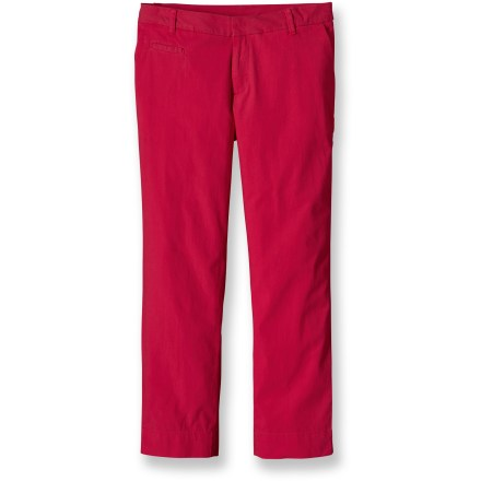 Consider a pair of the Patagonia Stretch All-Wear capris for warm-weather adventures that demand comfortable movement. Put them on the first warm day and wear them until fall. Lightweight organic cotton stretch canvas and classic chino styling. Zip fly, belt loops and hook closure. 2 slash pockets in front, welted coin pocket on right front and 2 single-welt rear pockets. Patagonia Stretch All-Wear capris have a slim fit and straight legs. - $44.93
