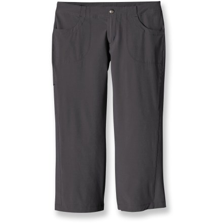 The Patagonia All-Out capri pants will take you from seaside to summit in style and comfort. Lightweight, abrasion-resistant blend of polyester and spandex for mobility, drape and easy care. Clean, low-profile waist with zip fly and snap closure. Front drop-in pockets, stash pocket on right thigh and 2 back pockets with rip-and-stick closures. Patagonia All-Out capris have a regular fit, low rise and straight legs. - $33.93