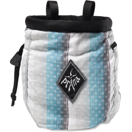 Climbing Dip into this prAna Plaid chalk bag with belt to keep your hands dry and grippy while working a route. Deep fleece-lined compartment holds plenty of chalk (sold separately). Drawcord closure keeps chalk from spilling out while not in use. Elastic loop holds a brush (not included) for cleaning off holds. The prAna Plaid chalk bag comes with a nylon webbing belt that adjusts easily. - $24.00