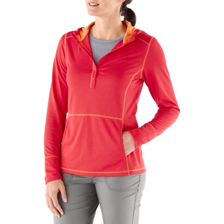 The plus-size REI Rendezvous Hoodie is made from warm, yet trim grid fleece. It packs without weighing you down and offers quick warmth when it gets chilly. Fabric wicks moisture away from skin and dries in under 4 hours; UPF 50 sun protection helps shield skin from harmful ultraviolet rays. Shaped flip-up hood is lined with soft and stretchy patterned fabric. Snap placket. 2 angled hand pockets; hidden security zip pocket in right-side pocket. REI Rendezvous hoodie has an easy-wearing fit, and flattering front and back princess seams. - $33.93