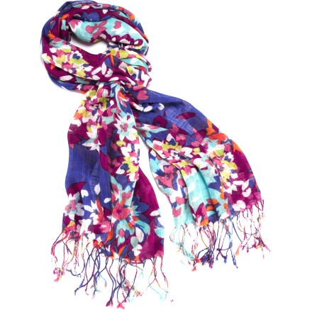 Add a splash of bright color to your winter wear with the REI Swirling Petals scarf. Viscose fabric has a soft, smooth feel. - $26.50