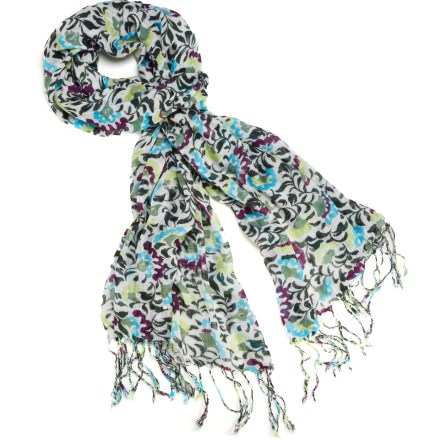 Add a splash of bright color to your winter wardrobe with the REI Small Floral Print scarf. Viscose fabric has a soft, smooth feel. - $26.50