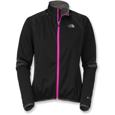 Fitness The versatile LWH Soft-Shell jacket by The North Face has zip-off sleeves for adaptable performance on your cross-country trail-riding adventures. Highly wind-resistant and water-resistant main body of jacket offers comfort and protection during high-intensity riding efforts in a variety of weather conditions. Strategically placed panels feature FlashDry(TM) fabric, which uses a built-in additive to dramatically improve moisture-wicking performance and dry times. Zip-off sleeves transform the jacket into a vest when the temperature or intensity of your ride rises. Full-length zipper with draft flap lets you ventillate as needed. Single zip pocket at lower back stashes riding essentials. Reflective detailing increases your visibility in low light. Droptail hem in back of the LWH Soft-Shell jacket by The North Face keeps you covered while in the riding position. - $125.00