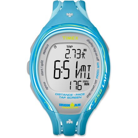 Camp and Hike The women's Timex Ironman Tap Sleek 250-lap digital watch is perfect for training. It lets you access information without breaking your stride, giving you an edge when every second counts. TapScreen feature logs split times with 1 firm tap on the watch face; glancing at the oversize display and listening to the audible alarms provides real-time feedback. Slim design features an easy-to-use, push-button format. Training log stores workouts by date, and includes best lap, average lap and total segment time. Features 250-lap memory recall, 100-hr. chronograph with lap or split option, and interval repetition counter. 2 interval timers can be set for up to 24 hrs. of speed and endurance training. Features 3 programmable audible alarms with 5 min. back-up alarm and on/off hourly chime. INDIGLO(R) Night-Light illuminates the display for easy use at night. Tough resin case and top ring are water resistant to 100m (330 ft.). The Timex Ironman Tap Sleek 250 digital watch features a resin strap that offers ventilation and flexibility for a comfortable fit. - $74.93