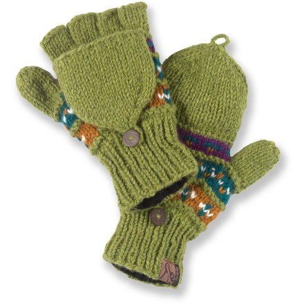 The warm Turtle Fur Tyler Flippy mittens convert to fingerless gloves for those times when a fine touch is required. Handcrafted in Nepal, the Tyler Flippy mittens have wool exteriors that are lined with soft polyester fleece for great comfort next to skin. Mittens easily convert to fingerless gloves by folding the fingertip cover back over the knuckles. - $15.93