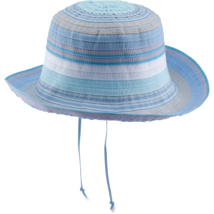 The Wallaroo Nantucket girls' hat is a fun, brilliantly colorful cap for all her summertime adventures. Multicolor polyester ribbons are layered to create a casual and fun look. 2.5 in. wide brim helps keeps her face and neck protected from the sun. With a UPF 50+ rating, this Wallaroo Nantucket girls' hat provides excellent protection against harmful ultraviolet rays. Hand wash in cold water. - $15.93
