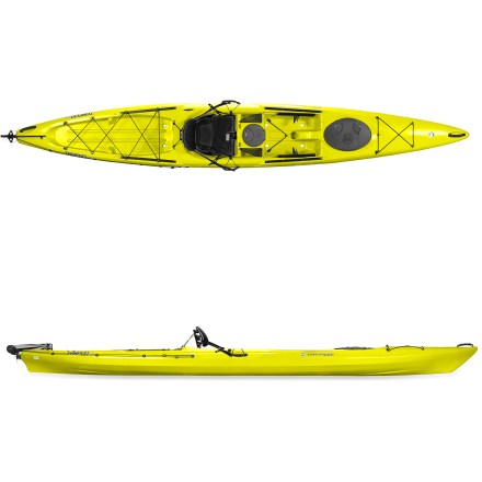 Kayak and Canoe The Tarpon 160 with rudder by Wilderness Systems features enough room for a single paddler, lots of gear and a big sense of adventure. Paddler-friendly sit-on-top kayak is perfect for exploring wildlife areas, fishing and relaxed day touring; sit-on-top design makes entry and exit fast and easy. High-density polyethylene construction offers performance, rugged durability and affordability. Multichine hull responds to your leans and delivers outstanding secondary stability. Foot pedal-controlled rudder system with cockpit deployment controls helps you steer and track effectively. Updated for 2012, the Phase 3 Air Pro sit-on-top seat offers excellent comfort and intuitive adjustments. Mesh stretched over 3-dimensional foam forms a perforated pad; large holes enhance airflow and small holes enhance support for sit bones and lower back. Scalloped, contoured seat pan cradles and cushions legs, and backrest conforms to size of paddler and flexes a bit with every paddle stroke. Series of icons shows what each adjustment strap does, and all control points are forward of the paddler and centrally located to reduce strain. Leg lifter uses handle to shore up space below your legs; back strap lowers seat back, and the angle of back rest is adjustable as well. Small gear bag under seat features a gear clip and enough capacity for a water bottle or extra food. Rear bungee cords lock seat back forward during transport. Large tank well with bungee cords securely stores tackle box and dry bags; bow bungee decking secures gear up front. Dual Slide-Trax rail system at front of seating area and tank well attach compatible accessories (not included) without tools or complicated adjustments. Keepers footbraces adjust to maximize comfort, personalizing your paddling experience and ensuring optimal paddling position. 8 in. center hatch and 19 in. bow hatch offer dry storage for small items like clothing and lunch. - $1,120.93