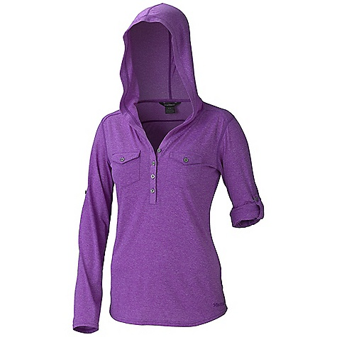 Free Shipping. Marmot Women's Laura LS Top DECENT FEATURES of the Marmot Women's Laura Long Sleeve Top Soft, Breathable, Lightweight Heathered Performance Knit Fabric Ultraviolet Protection Factor (UPF) 20 Quick-Drying and Wicking Nylon for Durability Stretch for Increased Mobility Forward Shoulder Seam Sleeve Roll Up Feature Henley Styling with Double Chest Pockets Shirt Tail Hem The SPECS Weight: 8.9 oz / 252.3 g Fit: Regular 53% Nylon 44% Polyester 3% Elastane Melange 4.2 oz/yd - $69.95