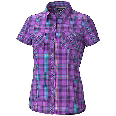 Free Shipping. Marmot Women's Audrey Plaid SS Top DECENT FEATURES of the Marmot Women's Audrey Plaid Short Sleeve Top Comfortable, Packable, Lightweight Performance Nylon Supplex Ultraviolet Protection Factor (UPF) 45 Abrasion Resistant Nylon Supplex Quick-Drying and Wicking Durable Flat Felled Seams with Contrast Interior Stitch Bias Back Yoke, Pockets and Center Front Pocket Shirt Tail Hem with Double Patch Pockets with Button Closure Contrast Stitch Details Darts for Tailored The SPECS Weight: 3.9 oz / 110.6 g Material: 100% Nylon Supplex 2.5 oz/yd Fit: Regular - $57.95