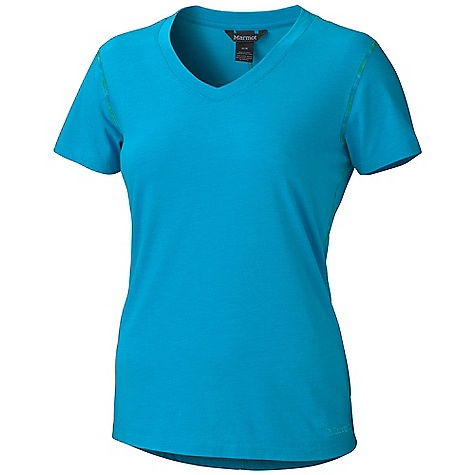 Marmot Women's Jaden SS Top DECENT FEATURES of the Marmot Women's Jaden Short Sleeve Top Soft, Comfortable, Lightweight Knit Fabric Ultraviolet Protection Factor (UPF) 20 Polyester for Quick-Drying and Wicking Contrast Space Dye Flat-Locked Seams Garment Washed for Soft Hand V-Neck Styling Droptail Hem for Increase Coverage Tag-Free Neckline The SPECS Weight: 4.8 oz / 136.1 g Material: 65% Cotton, 35% Polyester Jersey 3.7 oz/yd Fit: Regular - $41.95