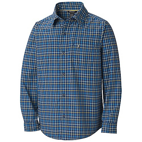 Marmot Boys' Cordova Plaid LS Top DECENT FEATURES of the Marmot Boys' Cordova Plaid Long Sleeve Top Packable, Breathable, Lightweight Performance Woven Fabric Ultraviolet Protection Factor (UPF) 45 Abrasion Resistant Nylon Supplex Quick- Drying and Wicking Continous Underarm Gusset for Increased Mobility Durable Flat-Locked Seams with Interior Contrast Stitching Shirt Tail Hem with Zipper Secure Chest Pocket The SPECS Weight: 4.1 oz / 116.2 g Material: 100% Nylon Supplex 2.5 oz/yd Fit: Regular - $44.95