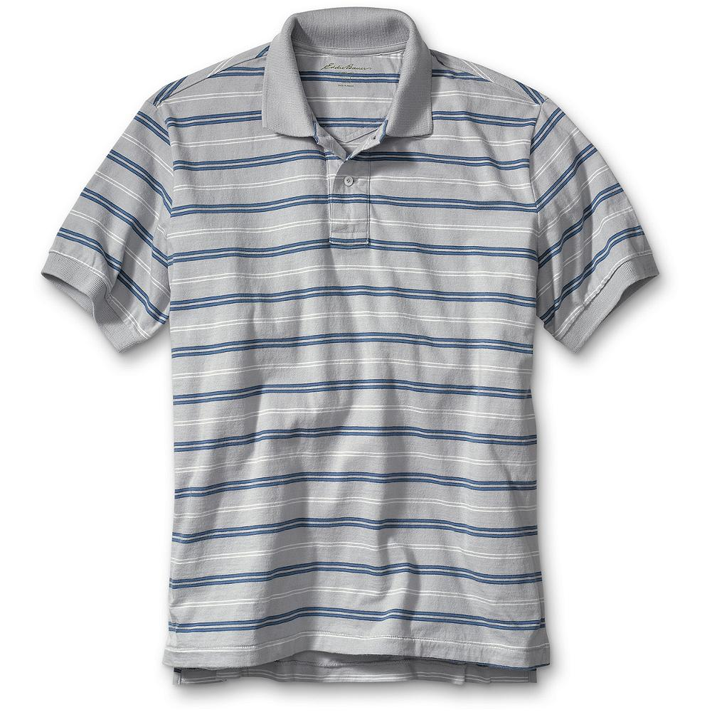Entertainment Eddie Bauer Classic Fit Striped Jersey Polo Shirt - Supersoft sueded jersey highlighted with yarn-dyed stripes. Flat-knit collar, ribbed cuffs. Combed cotton. Classic fit. Imported. - $9.99