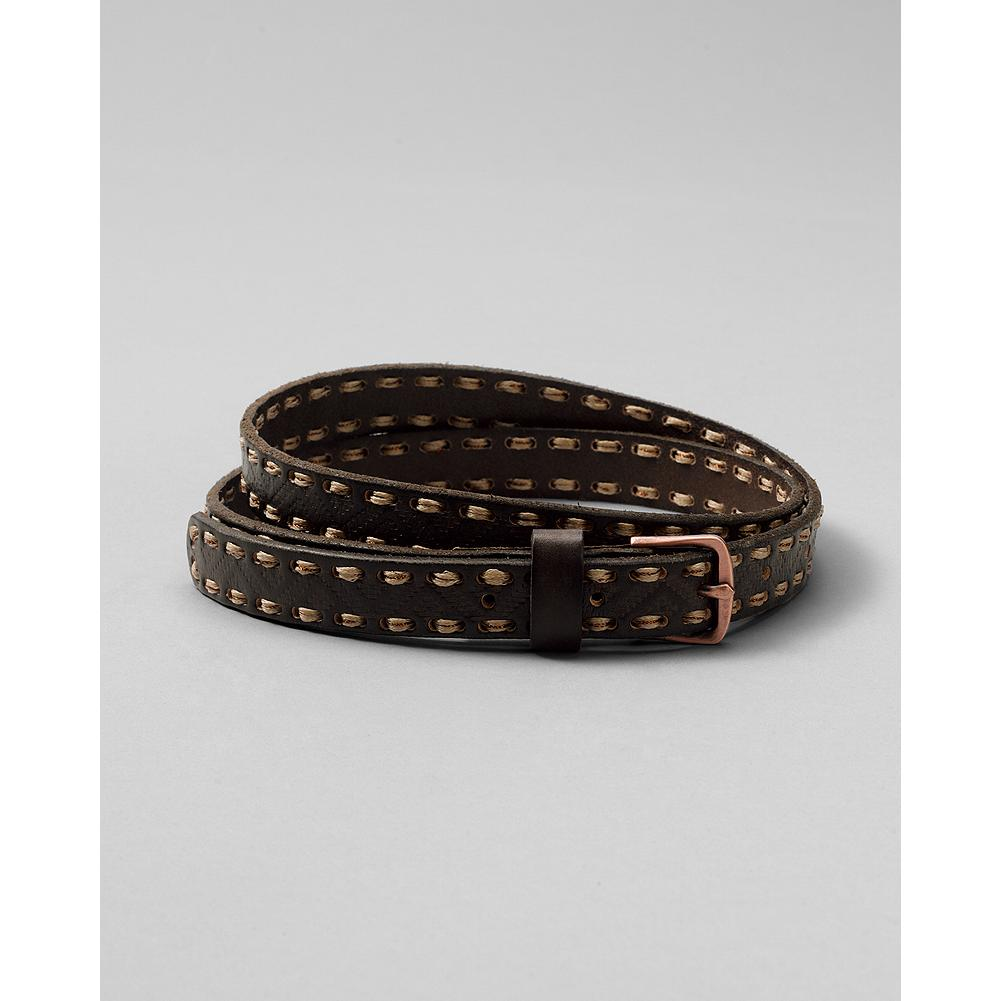 "Eddie Bauer Cord Laced-Edge Belt - Leather strap with stitch-through cord detail at the edges. 7/8""W. - $19.99"
