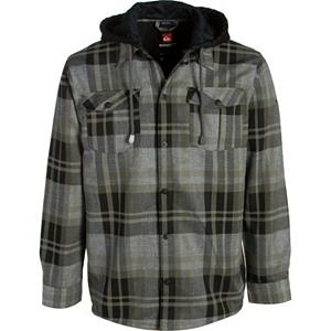 Surf Quiksilver Mapocho Riding Flannel Hoodie - Put on the Quiksilver Mapocho Riding Shirt Flannel and you'll ride in style while staying warm and feeling comfortable. This flannel-styled hoody is made from quick-drying polyester that has been treated with DWR. The DWR Treatment is a water repellent to help keep any melting snow that may fall onto from seeping inside and make you cold. It offers a super cozy quilted taffeta lining to keep you feeling very comfortable as you shred through the mountain. Look good, feel warm and ride in style with the Quiksilver Mapocho Riding Shirt Flannel. Features: Regular fit. Material: 100% Polyester yarn dyed plaid, Category: Mid-Weight, Bearing Grade: Performance, Hood: Yes, Warranty: Other, Battery Heated: No, Closure Type: Button Up, Wind Protection: No, Type: Flannels, Material: Synthetic, Pockets: 1-2, Wicking Properties: Yes, Sleeve Type: Long Sleeve, Water Resistant: Yes, Model Year: 2012, Product ID: 307318, Model Number: KKMSH283-BLK L, GTIN: 0883356798711 - $59.99