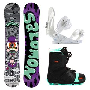 Snowboard Salomon Sanchez Wide EX Faction FS Complete Snowboard Package - For a soft, forgiving board that lets you get your jib on you will want to pick up the Salomon Sanchez Wide Snowboard Package. The Sanchez is a flexi park twin with tons of rail friendly features and a lively camber profile. The Sanchez is the perfect board to begin your conquest. A no-hang, pure Radial sidecut for clean switch tricks and easy spins, Sanchez has a Aspen Light core never buckles on steep transitions and deep presses. Perfect park lapper. Included in this package is the versatile and durable Ride EX binding. The EX features Ride's the Foundation chassis to provide all-mountain mid-flex performance and the Wedgie 1.5 footbed that has a subtle angle to provide the perfect mix of comfort and support. Combined with the ThinGrip toe strap and the ComfortFlex highback, you won't find a better value for any level of rider. Rounding out this package is the vicious beast of a boot the Salomon Faction FS boot. This boot features Salomon's Speed Powerlace system that'll have you lacing up faster than Superman. In case you want to fly like him too, a Stomp outsole and feel good liner will give you the protection and comfort you need when you stomp the landing. You'll also have your feet chillin on memory foam that's more comfortable than your bed. Autofit will self adapt to your feet's shape giving you a custom fit. Go ahead, carve the pow and butter all day. Get your feet dirty because this puppy has a bamboo footbed that provides gnarly natural antibacterial action. Snowboarding at its best. . Recommended Use: Freestyle, Snowboard Rocker Profile: Rocker, Package Type: Board, Boots, and Bindings, Product ID: 295380, Gender: Mens - $379.99