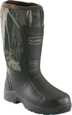 Fishing This line is an expansion of the ever-popular Alpha Light Series Rubber Boots with a more affordable price tag. The 100% waterproof rubber boots keep you mobile in dry, wet and muddy conditions any time of year. Their lightweight, self-cleaning outsoles have shallow, aggressive lugs that are everything but a stick in the mud. Rubber cup outsoles add durable, ground-gripping traction that wiggles its way out of anything. Brushed nylon exterior and shin protection panels add a measure of scent control and puncture resistance. LaCrosse Ankle-Fit technology stretches for easy on and off over pants and offers a secure fit for insulating performance. Built-in odor-reducing antimicrobial linings with breathability for cooling foot relief. Sponge rubber midsoles are built into the outsoles for added underfoot comfort. Removable EVA footbeds. Imported.Height: 14.Mens whole sizes: 8-13Camo pattern: Next Camo G1. - $69.88