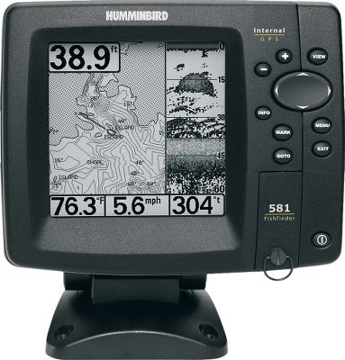 "Camp and Hike Combo GPS/sonar Easy-to-view, 5"" monochrome LCD monitor 640x320-pixel 16-level grayscale display DualBeam sonar with 2,000 watts peak-to-peak output Internal 50-channel GPS chartplotting with built-in UniMap 83kHz/60 200kHz/20 250-watt RMS Navionics compatible 3,000-waypoint memory Inside hull or transom mounting GPS speed and temperature included SwitchFire offers two-mode viewing for return displays Advanced features include Split Screens, Freeze Frame and TrueArch technology Dimensions: 7""H x 7""W x 4""D Made in USA. - $249.88"
