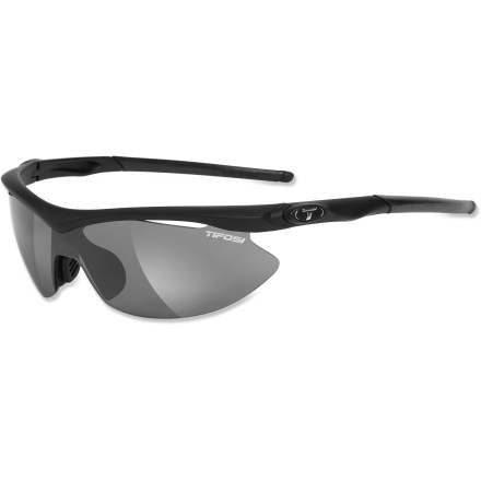 Camp and Hike The Tifosi Slip Asian Fit interchangable sunglasses feature a narrowed nose pad that fits higher on the face, and abbreviated lens curvature that clears the cheeks and temples for a great fit. - $69.95