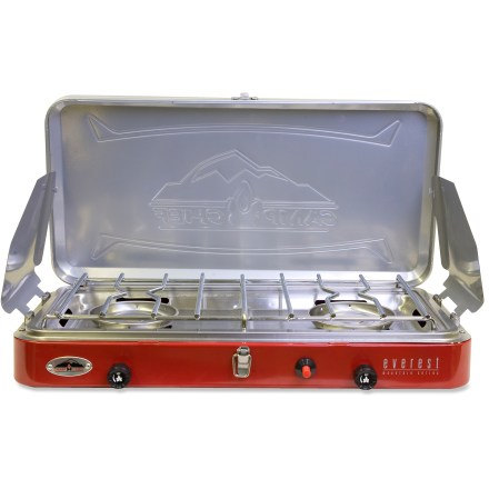 Camp and Hike Make a meal that is the envy of the whole campground with the lightweight, compact Camp Chef Everest 2-burner stove. It's ready for road trips and family camping adventures. - $109.95