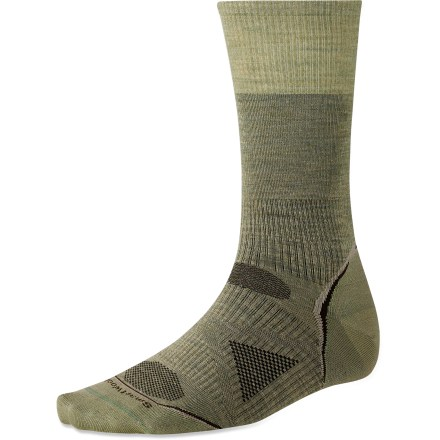 SmartWool PhD Outdoor Ultra Light men's crew socks offer a non-cushioned, precise fit. They're paired optimally with modern, minimalist footwear and lightweight trail shoes. - $19.95