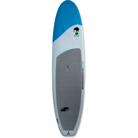 Surf The 11 ft. 6 in. Boardworks Super Natural stand up paddleboard connects you to the calming experience of being on the water thanks to its stable design. Ready to supply high stability whether you're just beginning or have mastered the surf, the Super Natural 11 ft. 6 in. board features a whopping 33 in. width. High volume and 250 lb. weight capacity makes this board an excellent choice for large paddlers looking to explore flatwater and light surf. Single density, stringerless, hand-shaped EPS core is laminated with epoxy resin and then painted with automotive-grade paint and a polish coat. Deck pad provides comfortable traction underfoot. Center fin promotes straight tracking in the water. Center handle makes transporting the 30 lb. Super Natural stand up paddleboard a breeze. - $1,049.00