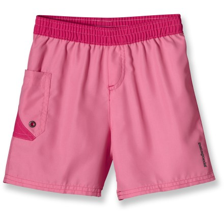 The Baby Daybreak Boardies Shorts for little girls are made of lightweight, quick-drying polyester microfiber. The soft, brushed fabric has a water repellent finish to keep her comfortable when playing in the waves. Elastic waistband with drawcord for an adjustable fit. Single patch pocket with drain hole. - $6.83