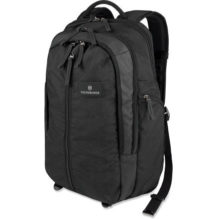 Entertainment Stylish, sleek and neat. The Victorinox Vertical Zip daypack is an ultra spacious padded computer pack with divided organization. It holds everything you need for trips to the office or the gym. - $74.93