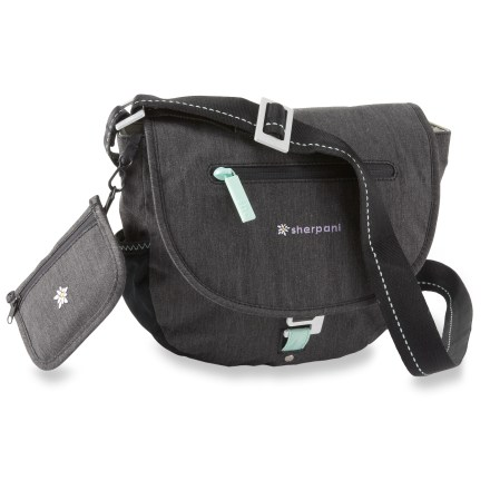 Entertainment The Sherpani Milli Cross-Body bag easily goes from work to a fun night on the town! It's just the right size to carry what you need without bogging you down. Zippered main compartment features eye-catching nylon lining; exterior flap stays put with a metal hook closure and has a small zip accessory pocket. Features a handy cell phone pocket underneath the flap and an exterior stretch-mesh side pocket. Interior features mesh organization pockets and zip security pocket; includes a detachable change purse with ID window and a key fob. Long adjustable strap crosses over your body for comfortable toting. Sherpani Milli bag's fabric stands up to abrasions, tears and punctures. - $20.83