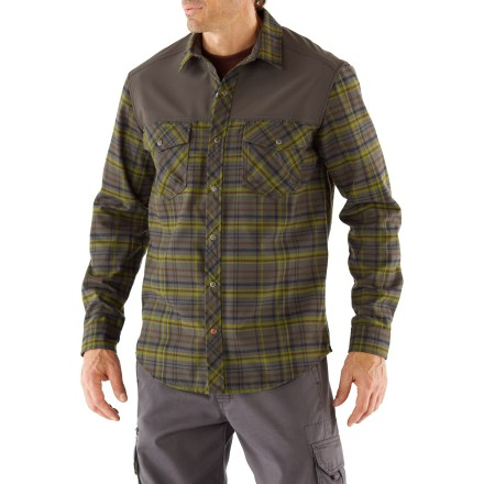 Check out this traditional flannel shirt with a touch of flair. The REI Riverstone Flannel shirt combines soft polyester flannel with stretchy panels at the shoulders for great performance and style. Brushed polyester flannel fabric dries quickly and offers excellent UPF 50+ sun protection. Lightweight, stretchy soft-shell fabric on the front and back of the shoulders resists wind and rain and allows a backpack to slide on easily. Snap flap pockets secure your essentials; front placket closes with snaps. Hang the shirt up to dry with the outside locker-loop. The REI Riverstone Flannel shirt has a classic fit that's cut just right for easy wearing. - $47.93
