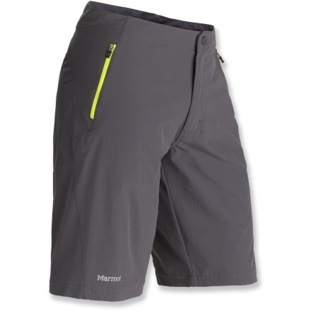 Fitness Smooth and comfortable with plenty of coverage, the Marmot Mobility shorts won't hold you back from digging deep and letting yourself go during your run. Quick-drying fabric lends a high degree of stretch and breathability to the Marmot Mobility shorts. Fabric protects skin from harsh UV light with a UPF rating of 50+, and a Durable Water Repellent finish causes light moisture to bead up and roll off. Internal drawcord works with traditional button fly to personalize fit. 2 zippered hand pockets. The Marmot Mobility shorts enhance visibility with reflective highlights, and they feature a regular fit. - $46.93