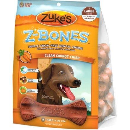 Camp and Hike This package of 6 large Zuke's Z-Bones Dental Chew bones offers tasty, natural and grain-free treats that clean your dog's teeth and freshen its breath. Ridged surface helps clean teeth; an array of antioxidants helps enhance your dog's health. Zuke's Z-Bones Dental Chew bones contain natural ingredients that help freshen your dog's breath from within. - $19.00
