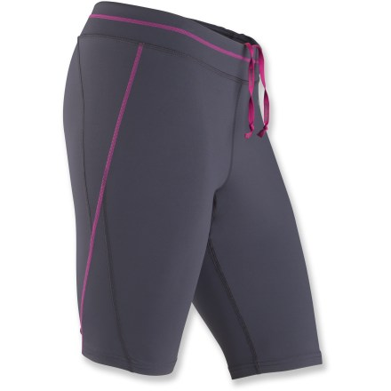 Fitness The women's Marmot Trail Breeze shorts comfortably support hard working muscles on treadmills, trail runs and gym equipment. Lightweight performance fabric wicks moisture and dries quickly to help keep you cool during activity. Fabric helps protects skin from too much sunlight with a UPF factor of 30. Gusset features a quick-drying, highly breathable Coolmax(R) polyester fabric patch. Bonded back pocket with zippered closure stashes small workout essentials; an interior pocket stores a key. Reflective highlights increase visibility in dim light. The women's Marmot Trail Breeze shorts feature a 10.5 in. inseam. - $39.93