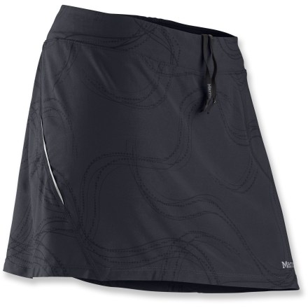 Fitness Enjoy your next run in the feminine Marmot Velox skort. Lightweight, stretchy performance fabric in the skirt and liner shorts wicks moisture and dries quickly to keep you comfortable on the trail. Fabric helps protects skin from too much sunlight with a UPF factor of 30. Gusset of shorts features a quick-drying, highly breathable Coolmax(R) polyester fabric patch. Flatlock seams enhance comfort. An interior pocket stores a key. Reflective logos increase visibility in dim light. The women's Marmot Velox skort features a 14 in. outer skirt length and a 4 in. liner short inseam. - $39.93