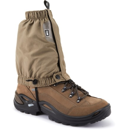 Camp and Hike The low-cut REI Desert gaiters keep debris out of your footwear while you hike, trek or run in the heat of summer. Designed to fit trail-running shoes, light hiking boots and outdoor cross-training shoes. Lightweight, breathable nylon fabric has a soft, supple hand. Fabric provides UPF 30 sun protection, shielding skin from harmful ultraviolet rays. Overlapping rip-and-stick front closures allow quick, easy adjustments. Elastic at top and bottom openings provides a comfortable, flexible fit. REI Desert gaiters have lace hooks and instep cords to secure the gaiters in place. - $17.93
