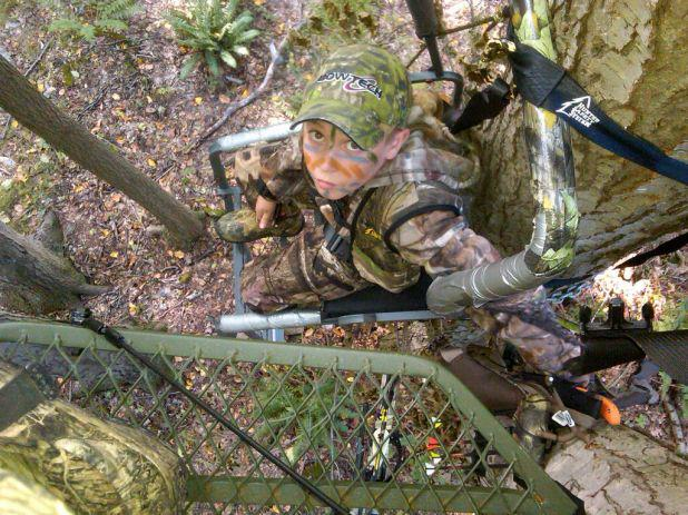 """LIKE"" if you remember your first time in a treestand! This is Sal, Pro Staffer Bill Zonca's son. Thanks Bill for sharing the great photo and memories."