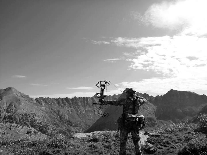 "Submitted by James Jim Gonzales - ""Monochrome picture of me and my Bowtech Insanity at 12,224 ft. high up in the Colorado Mountains."""