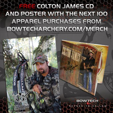 Free Colton James CD to the next 100 apparel orders. You must add the CD to your cart to redeem - click here: http://ow.ly/94wKb