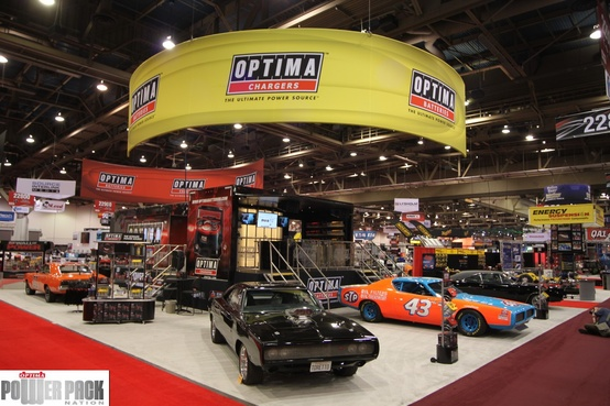 Auto and Cycle There's nothing quite like the SEMA Show in Las Vegas.  OPTIMA's 2011 booth featured famous Dodge Chargers, including one from Richard Petty's stables, the original Dodge Charger from Bullit, The Fast & Furious Dodge Charger and of course, The General Lee