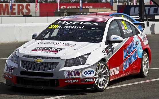 Motorsports Robb Holland's OPTIMA-sponsored Chevrolet Cruze in the FIA World Touring Car Championship