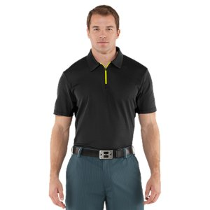 Golf Black Out The Sun.Most fabrics-especially dark colors-heat up and become unbearable in the blazing sun. Well, no more. Revolutionary coldblack(R) technology makes dark colors act more like light colors, and light colors act like nothing else. It also has the benefit of protecting your skin from sun damage. Your new go-to golf polo for the intense heat. Revolutionary coldblack(R) technology reflects IR and heat rays, so even dark colors don't get as hotSoft knit fabric provides lightweight performance, for comfort from the links to the clubhouseMesh underarm panels deliver superior breathability without sacrificing protectionSignature Moisture Transport System wicks sweat away from the body Anti-odor technology prevents the growth of odor causing microbesMinimum UPF 30+ with advanced sun protection to block out UV-A and UV-B raysZippered, contrast placket Self-fabric collar Body: 3.8 oz. PolyesterInserts: 2.3 oz. PolyesterImported - $52.99