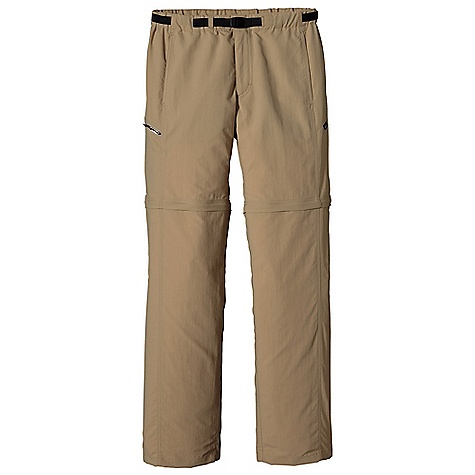 Free Shipping. Patagonia Men's GI III Zip-Off Pant DECENT FEATURES of the Patagonia Men's GI III Zip-Off Pant Made of a durable, quick-drying nylon taslan fabric, with a DWR finish and 50+ UPF sun protection Elasticized waistband with an adjustable belt and separating buckle zip fly with button closure Pants convert to shorts with unobtrusive zip-off legs that have color-coded zippers for easy on/off ankle zips allow legs to be removed over boots Coin-safe, on-seam front pockets with polyester mesh for drainage Zippered pockets: Right rear drop-in and right thigh, drop-in with internal key loop both with polyester mesh for drainage Gusseted crotch for ease of movement The SPECS Regular fit Inseam: 32in. 3.4-oz 100% nylon taslan with a DWR finish and 50+ UPF sun protection This product can only be shipped within the United States. Please don't hate us. - $79.00