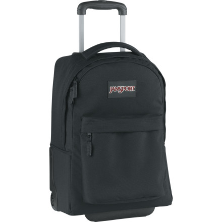 Entertainment If your organic chemistry books are taking a toll on your back, or you're heading out for a weekend getaway, save your spine with the Jansport Wheeled SuperBreak Bag. This rolling bag features one large main compartment to haul your giant textbooks or enough clothes for an overnight trip. Corner guards and skid rails protect your stuff, and you can stash the retractable handle and carry the burden on your back with the handy tuck-away shoulder straps. Use the Wheeled SuperBreak Bag's front pocket for quick-access to your calculator or your plane ticket. - $84.95